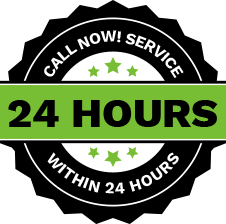 Service within 24-hours Logo in Bright green and black lettering