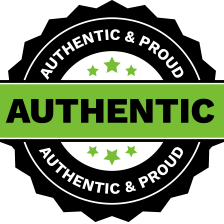 authentic and proud Logo in Bright green and black lettering