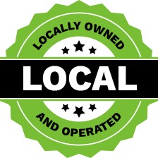Locally & Operated Logo in Bright green and black lettering